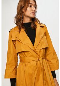 Oliwkowy płaszcz only raglanowy rękaw, klasyczny, z klasycznym kołnierzykiem
