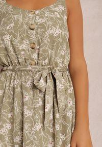 Renee - Zielona Sukienka Zixasto. Kolor: zielony. Materiał: materiał. Długość rękawa: na ramiączkach. Wzór: kwiaty. Długość: maxi
