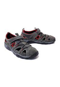 Manitu - MANITU 620232-8 biege/rot, sandały męskie. Zapięcie: rzepy. Kolor: szary. Materiał: skóra. Szerokość cholewki: normalna. Wzór: ażurowy