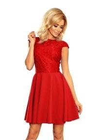 Numoco - Sukienka Elegancka Rozkloszowana z Koronką - Czerwona. Kolor: czerwony. Materiał: koronka. Wzór: koronka. Styl: elegancki