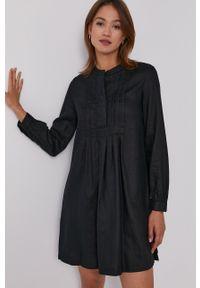 United Colors of Benetton - Sukienka. Kolor: czarny. Materiał: tkanina. Długość rękawa: długi rękaw. Wzór: gładki. Typ sukienki: rozkloszowane