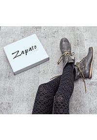 Szare botki Zapato wąskie, z cholewką za kostkę, w kolorowe wzory