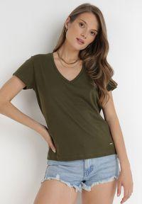 Born2be - Khaki T-shirt Leucelsa. Kolor: brązowy. Materiał: bawełna, jersey, dzianina. Długość: długie