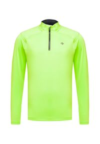 Zielony golf Descente retro, w kolorowe wzory, z golfem