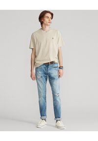 Ralph Lauren - RALPH LAUREN - Melanżowy t-shirt w serek Custom Fit. Typ kołnierza: dekolt w serek. Kolor: beżowy. Materiał: bawełna. Wzór: melanż #3