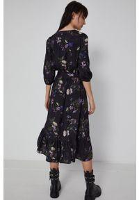 medicine - Medicine - Sukienka Poetic Garden. Kolor: czarny. Materiał: tkanina. Typ sukienki: rozkloszowane