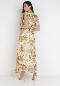 Born2be - Biała Sukienka Fyryera. Typ kołnierza: kołnierz z falbankami. Kolor: biały. Materiał: lakier. Długość rękawa: krótki rękaw. Wzór: kwiaty, aplikacja. Typ sukienki: kopertowe, rozkloszowane. Długość: maxi