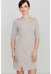 Katrus - Beżowa Elegancka Sukienka z Asymetrycznym Rozporkiem. Kolor: beżowy. Materiał: wiskoza, poliester. Typ sukienki: asymetryczne. Styl: elegancki