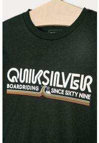 Czarna bluzka z krótkim rękawem Quiksilver z nadrukiem, na co dzień