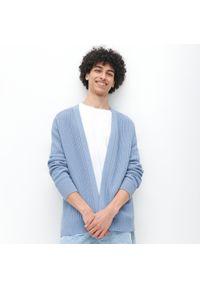 Reserved - Bawełniany kardigan - Niebieski. Kolor: niebieski. Materiał: bawełna