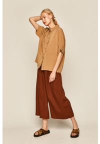 Brązowe spodnie materiałowe medicine boho, z podwyższonym stanem