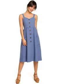 e-margeritka - Sukienka na ramiączkach midi niebieska - 36. Kolor: niebieski. Materiał: tkanina, len, materiał, poliester. Długość rękawa: na ramiączkach. Wzór: aplikacja. Sezon: lato. Typ sukienki: rozkloszowane, dopasowane. Długość: midi