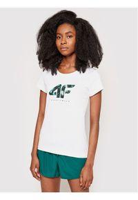 4f - 4F T-Shirt H4L21-TSD030 Biały Regular Fit. Kolor: biały