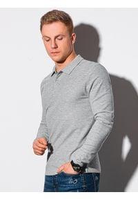 Ombre Clothing - Longsleeve męski bez nadruku L132 - szary melanż - XXL. Typ kołnierza: polo. Kolor: szary. Materiał: bawełna, jeans, materiał. Długość rękawa: długi rękaw. Wzór: melanż
