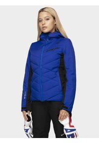 Niebieska kurtka narciarska 4f na zimę, z kapturem