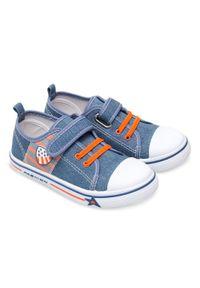 UNDERLINE - Trampki dziecięce Underline 17C1808 Niebieskie. Zapięcie: rzepy. Kolor: niebieski. Materiał: tkanina, skóra, guma