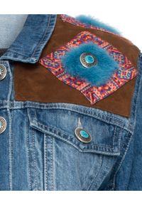 SIMONETTA RAVIZZA - Kurtka jeansowa. Kolor: niebieski. Materiał: jeans. Wzór: aplikacja. Styl: elegancki