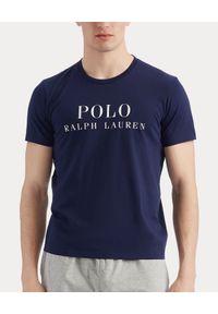 Niebieski t-shirt Ralph Lauren polo, z nadrukiem