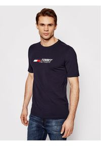 TOMMY HILFIGER - Tommy Hilfiger T-Shirt Logo Tee MW0MW17282 Granatowy Regular Fit. Kolor: niebieski