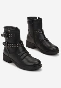 Born2be - Czarne Botki Thelyphe. Okazja: do pracy. Wysokość cholewki: przed kolano. Nosek buta: okrągły. Zapięcie: pasek. Kolor: czarny. Materiał: jeans. Szerokość cholewki: normalna. Obcas: na obcasie