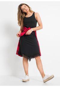 Sukienka shirtowa z szydełkową koronką bonprix czarny. Kolor: czarny. Materiał: koronka. Wzór: koronka
