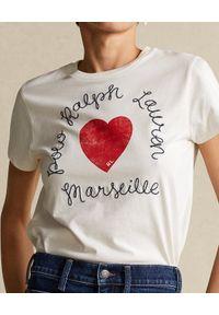 Ralph Lauren - RALPH LAUREN - Biały t-shirt z sercem. Typ kołnierza: polo. Kolor: biały. Materiał: bawełna #3