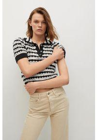 mango - Mango - Sweter Ferdina. Kolor: czarny. Długość rękawa: krótki rękaw. Długość: krótkie
