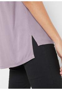 Sweter rozpinany z gładkiej dzianiny z plisą guzikową bonprix matowy bez. Kolor: fioletowy. Materiał: dzianina. Wzór: gładki