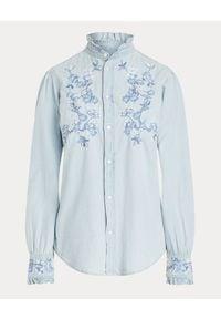Ralph Lauren - RALPH LAUREN - Jeansowa koszula z haftem. Typ kołnierza: polo. Kolor: niebieski. Materiał: jeans. Długość rękawa: długi rękaw. Długość: długie. Wzór: haft