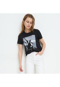 Czarny t-shirt Mohito z nadrukiem