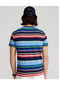 Ralph Lauren - RALPH LAUREN - T-shirt w paski Custom Slim Fit. Okazja: na co dzień. Typ kołnierza: polo. Kolor: czerwony. Materiał: jeans, tkanina, dzianina, bawełna. Wzór: paski. Styl: casual