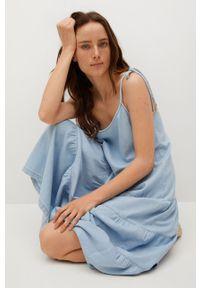 mango - Mango - Sukienka DALIA. Kolor: niebieski. Materiał: bawełna, materiał. Długość rękawa: na ramiączkach. Typ sukienki: rozkloszowane