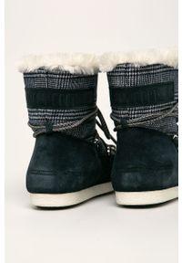 Niebieskie śniegowce Moon Boot z okrągłym noskiem, na sznurówki, z cholewką