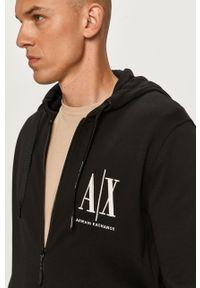 Czarna bluza rozpinana Armani Exchange z kapturem, z aplikacjami