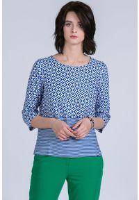 Niebieska bluzka Monnari plus size, z dekoltem w łódkę, na co dzień