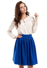 MOE - Chabrowa Spódnica Midi z Plisowaniami. Kolor: niebieski. Materiał: wiskoza, poliester, elastan
