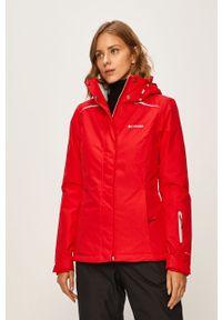 Czerwona kurtka columbia z kapturem, casualowa