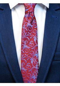 Modini - Bordowy krawat męski we florystyczny wzór C9. Kolor: czerwony. Materiał: tkanina, mikrofibra