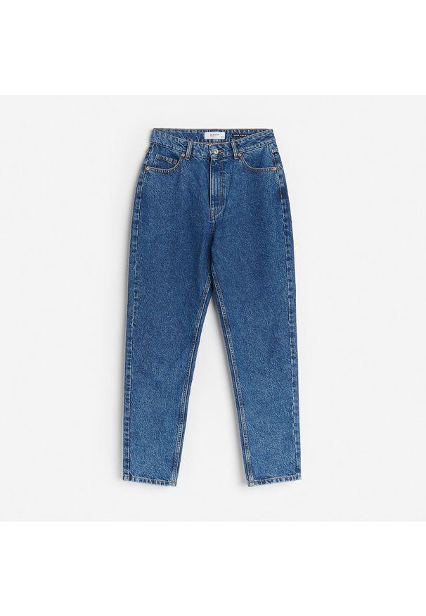 Reserved - Jeansy mom - Granatowy. Kolor: niebieski