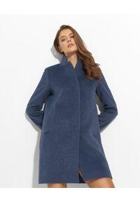 CINZIA ROCCA - Granatowy płaszcz z dodatkiem kaszmiru. Kolor: niebieski. Materiał: kaszmir