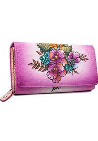 ROVICKY - Portfel damski różowy Rovicky R-N22-ART-15 PINK. Kolor: różowy. Materiał: skóra. Wzór: nadruk, kolorowy, aplikacja