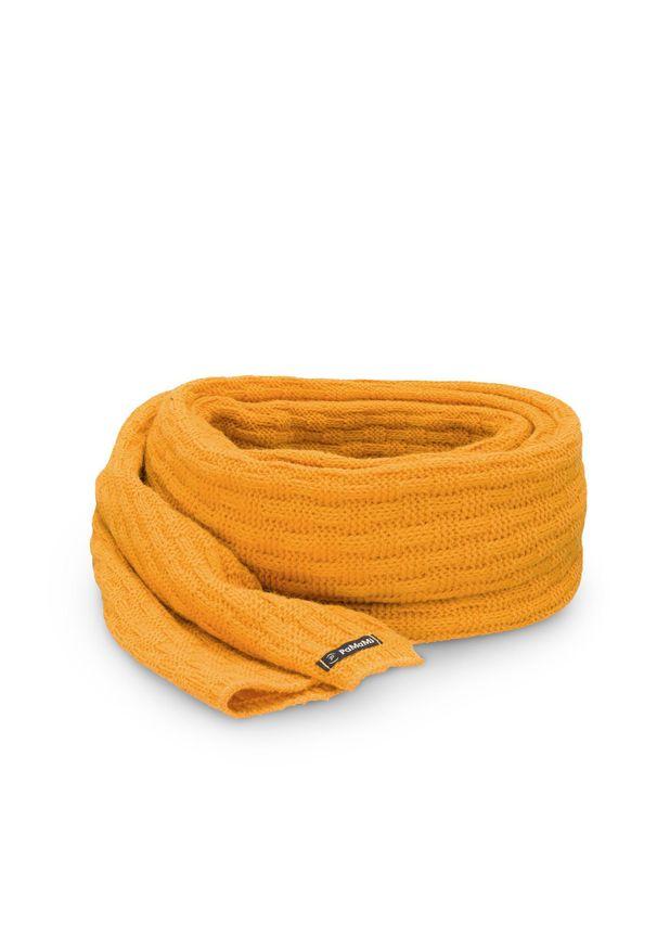 Zimowy szalik damski PaMaMi - Miodowy. Okazja: na spacer. Kolor: pomarańczowy. Materiał: poliamid, akryl. Sezon: zima