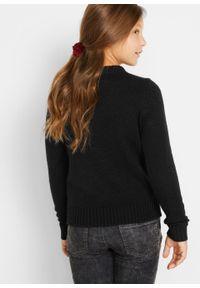 Sweter dziewczęcy z bożonarodzeniowym motywem bonprix Sweter dziew bożon czar. Kolor: czarny. Materiał: materiał, akryl. Wzór: aplikacja #5