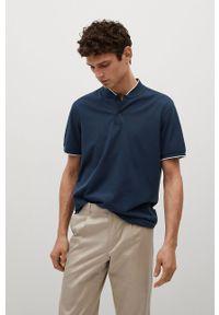 Niebieska koszulka polo Mango Man krótka, na co dzień