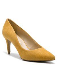 Żółte szpilki Sergio Bardi eleganckie, z cholewką