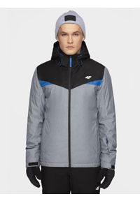 Szara kurtka narciarska 4f z kapturem, na zimę