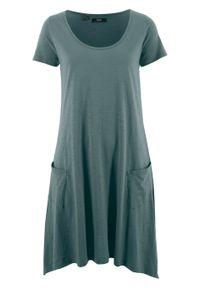 Sukienka bawełniana z przędzy mieszankowej, krótki rękaw bonprix zielony eukaliptusowy. Kolor: zielony. Materiał: bawełna. Długość rękawa: krótki rękaw