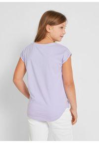 T-shirt dziewczęcy z bawełny organicznej bonprix jasny fioletowy. Kolor: fioletowy. Materiał: bawełna. Wzór: nadruk