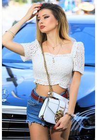Biała bluzka IVET casualowa, krótka