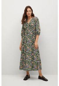 mango - Mango - Sukienka Tangerin. Okazja: na co dzień. Kolor: zielony. Materiał: dzianina. Typ sukienki: proste. Styl: casual